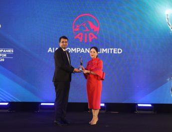 """เอไอเอ ประเทศไทย รับรางวัล """"Best Companies To Work For In Asia 2020"""" บริษัทดีเด่นที่น่าทำงานมากที่สุดในเอเชีย ประจำปี 2563 ติดต่อกันต่อเนื่องเป็นปีที่ 2"""